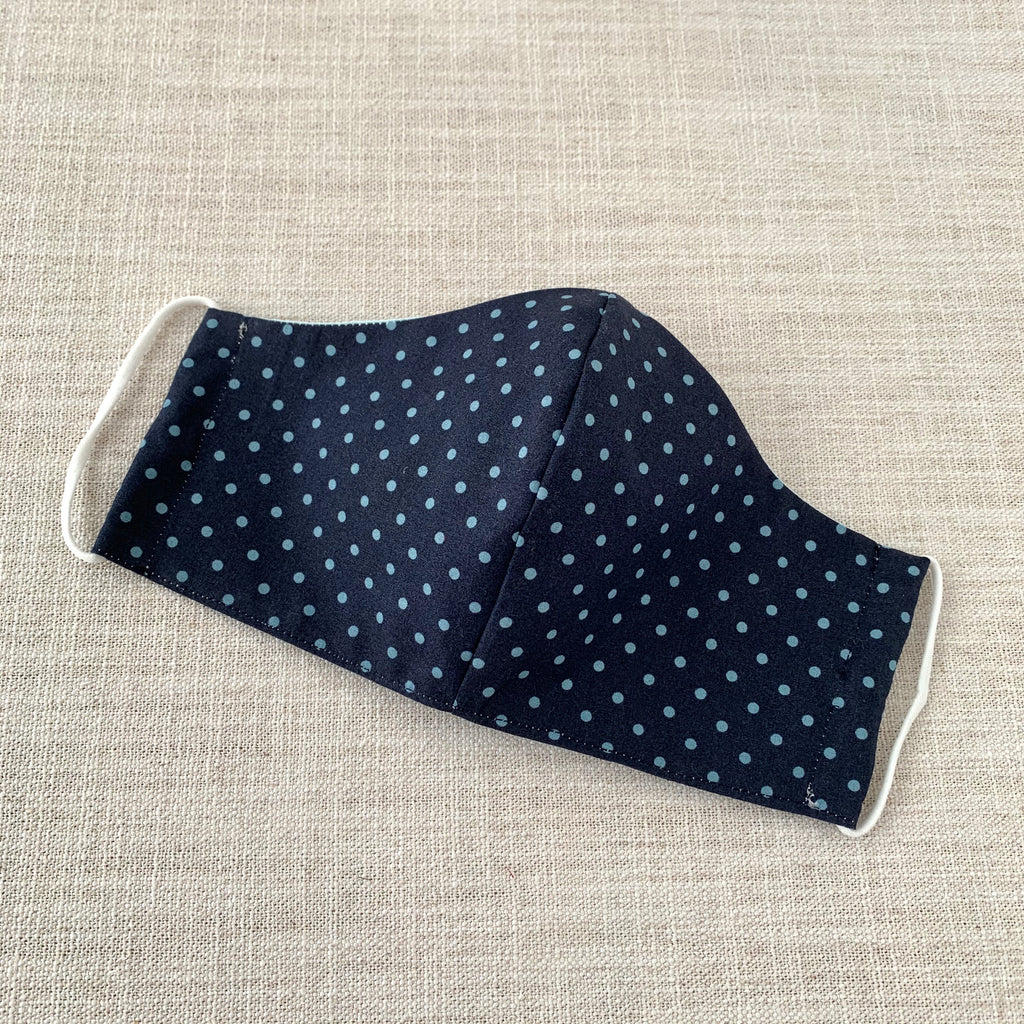 *In Stock* Cloth Masks (Adult & Child) - Blue Dots on Navy