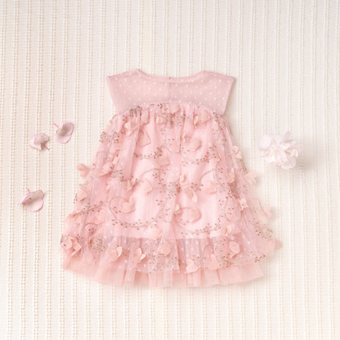 Petals Dress (Girls) - Peony Pink