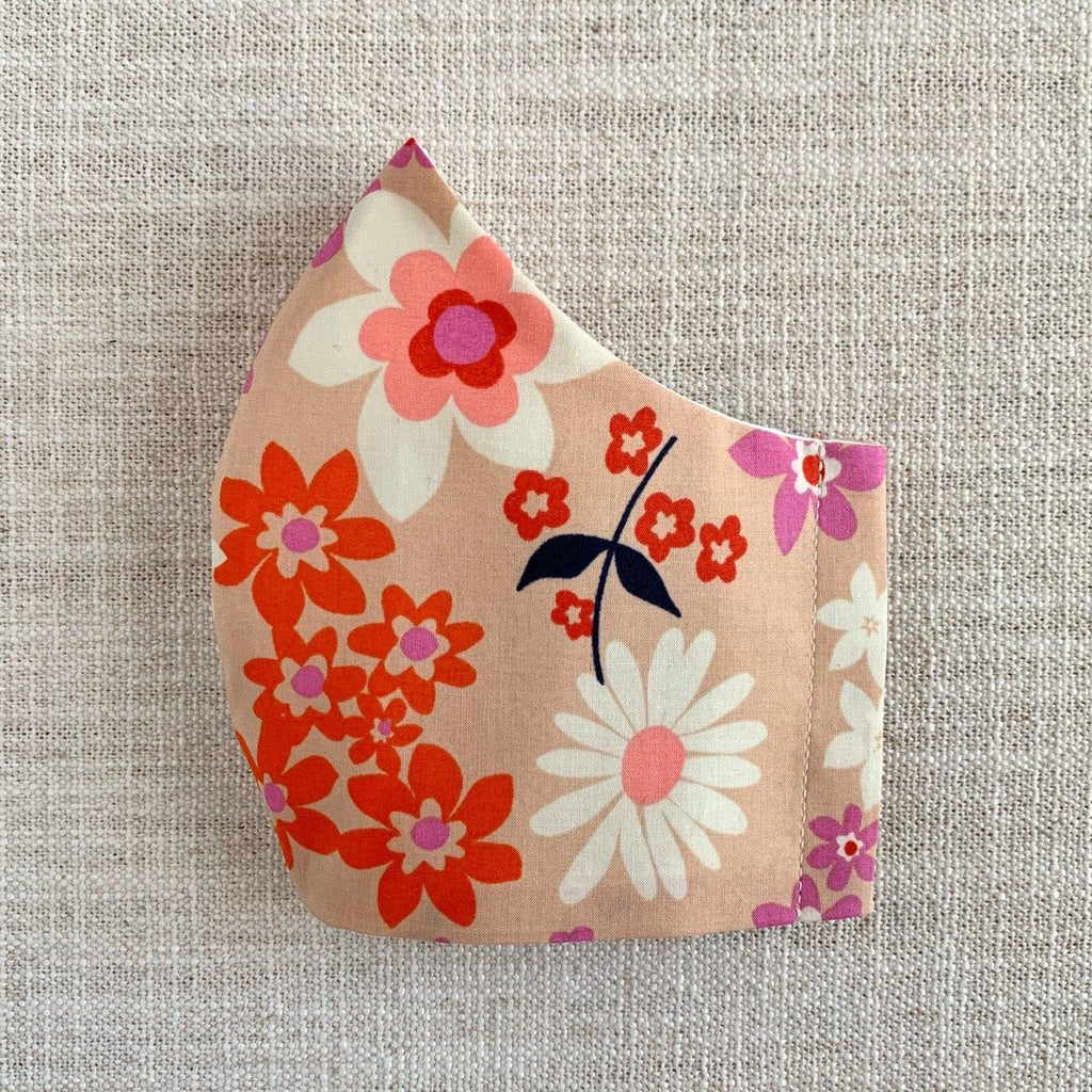 *In Stock* Cloth Masks (Child) - Retro Floral (Peach)