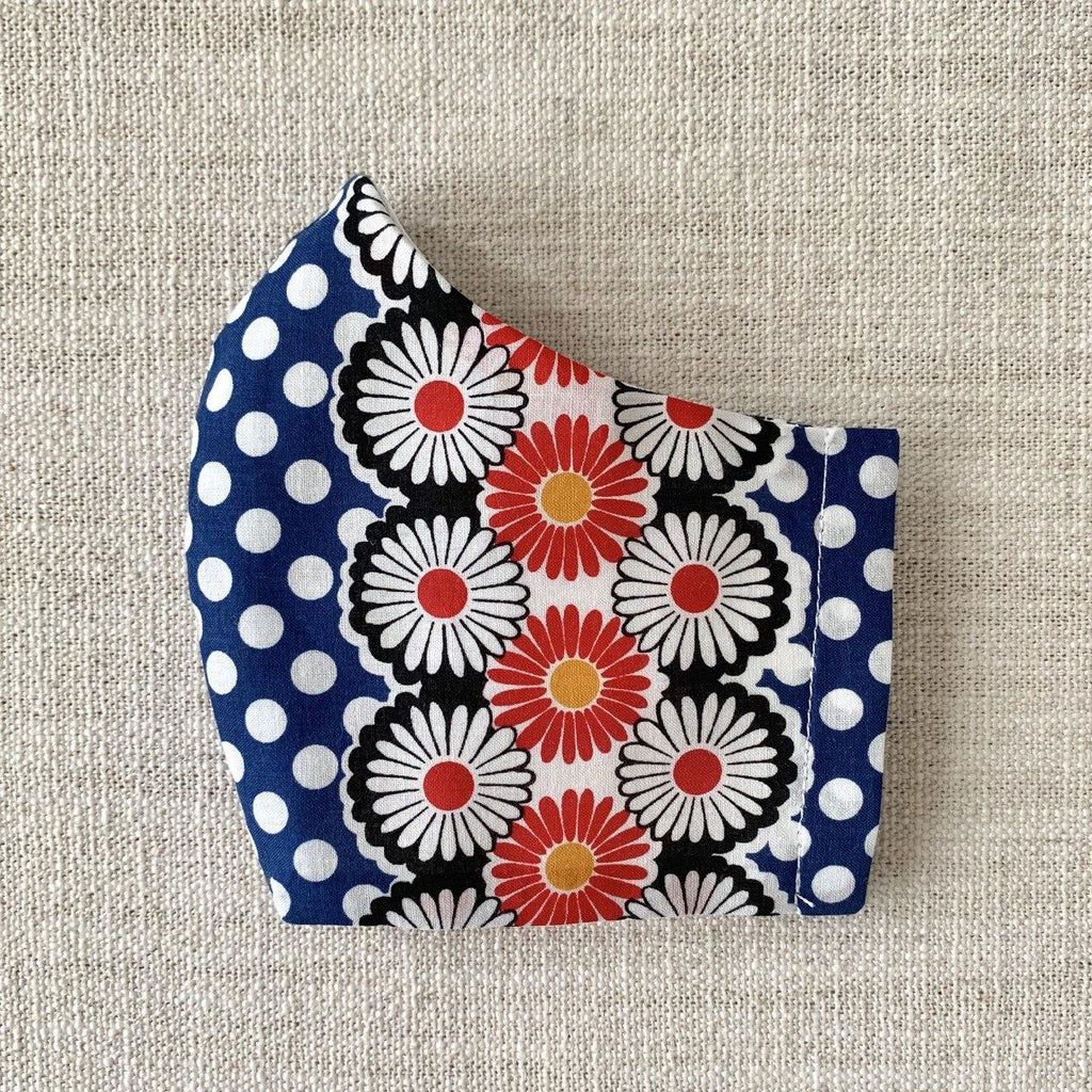 *In Stock* Cloth Masks (Adult) - Dots & Daisies Navy