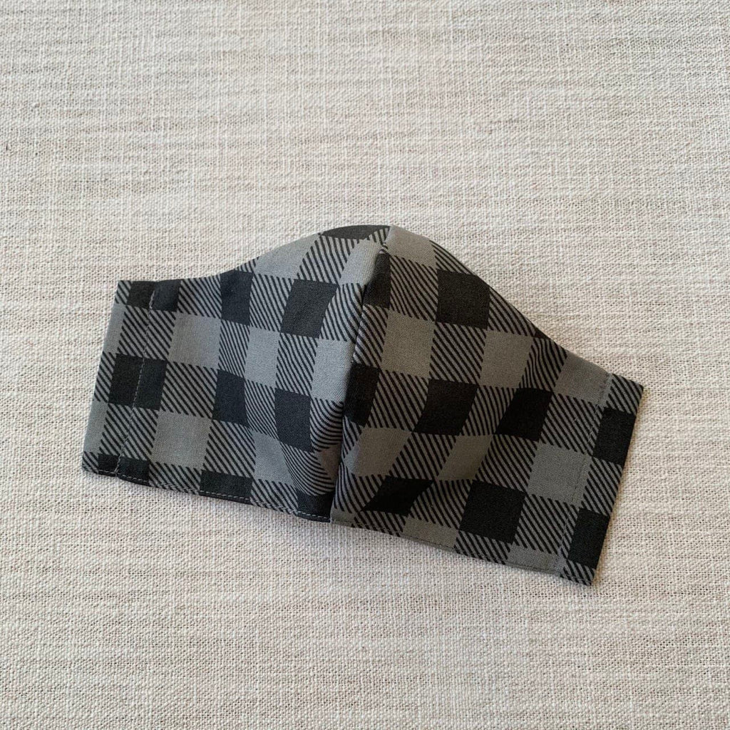 *In Stock* Cloth Masks (Adult & Child) - Checked (Charcoal)