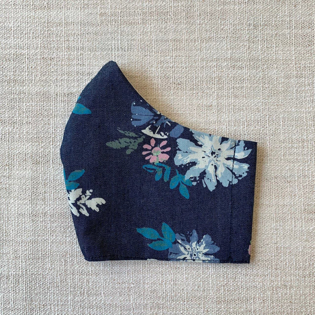 *In Stock* Cloth Masks (Adult & Child) - Flowers on Denim