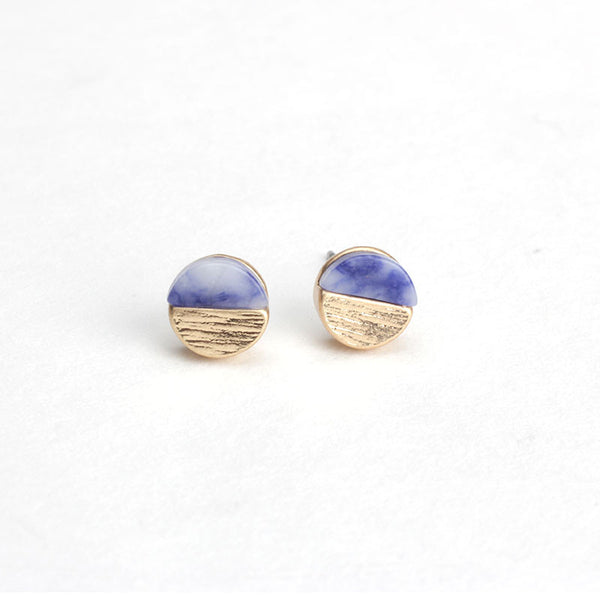 Tiny Marble Studs - Blue