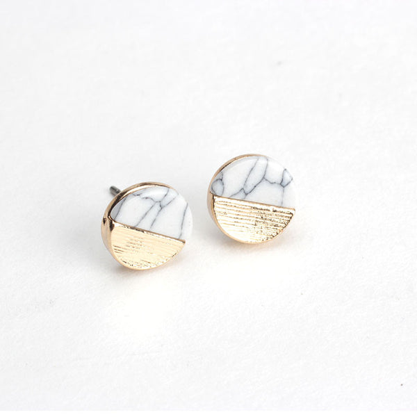 Tiny Marble Studs - White