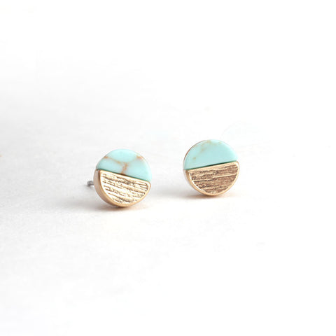 Tiny Marble Studs - Turquoise