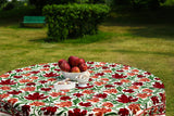 Oval Tablecloth Embroidered Autumn Maple Leave