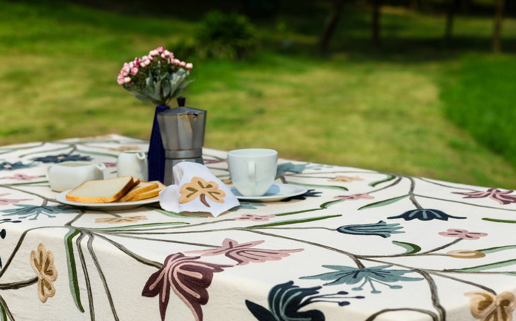 Oval Pastel Flowers Linen Tablecloth
