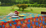 Oval Red Crewel Embroidered Tablecloth