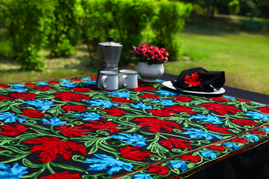 Oval Black Handmade Tablecloth