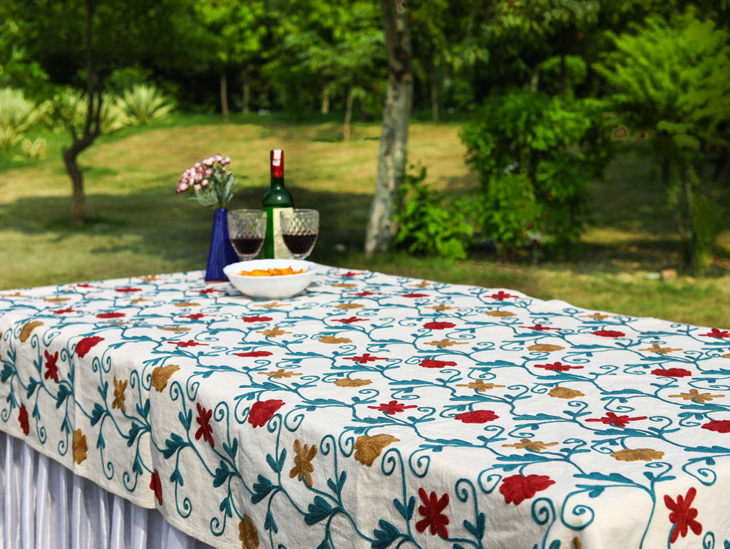 Oval - Red Flowers Tablecloth