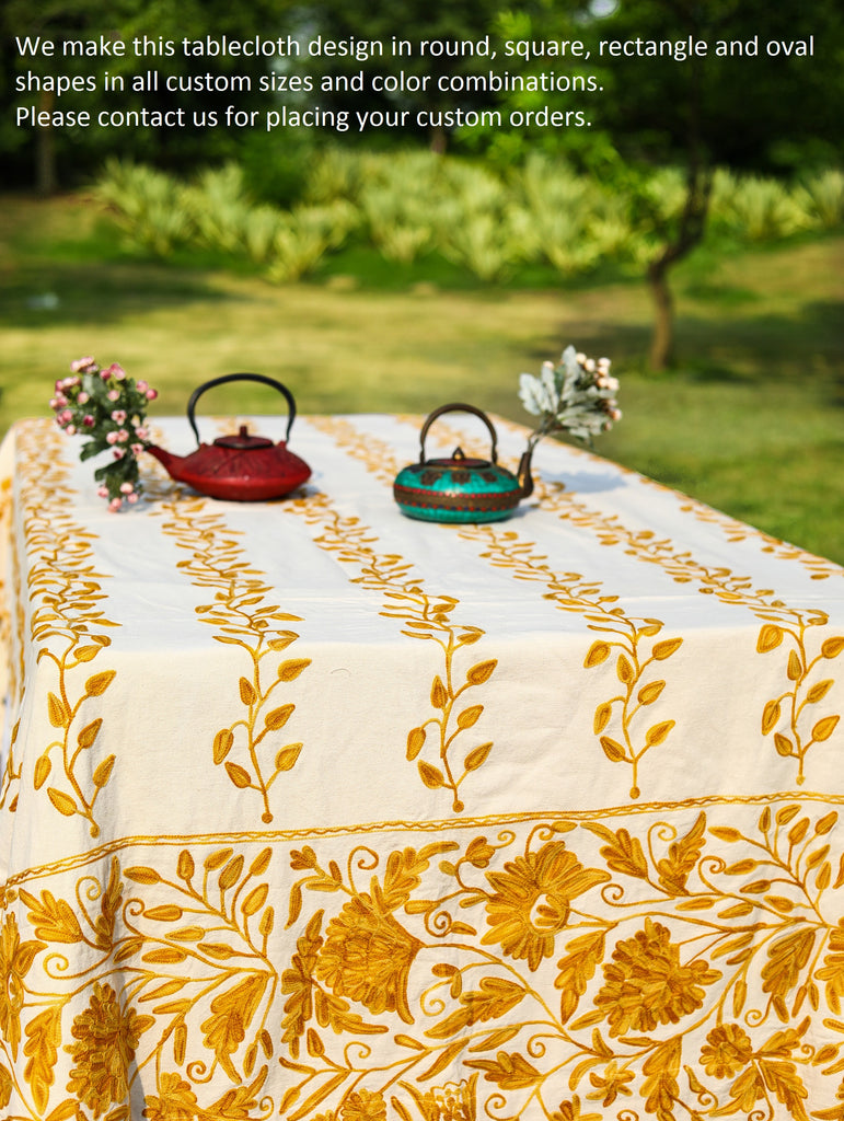 Round - Yellow Tablecloth
