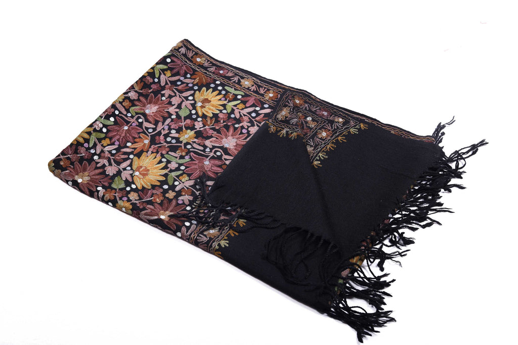 Bewitching Celine - Hand-Embroidered Wool Shawl