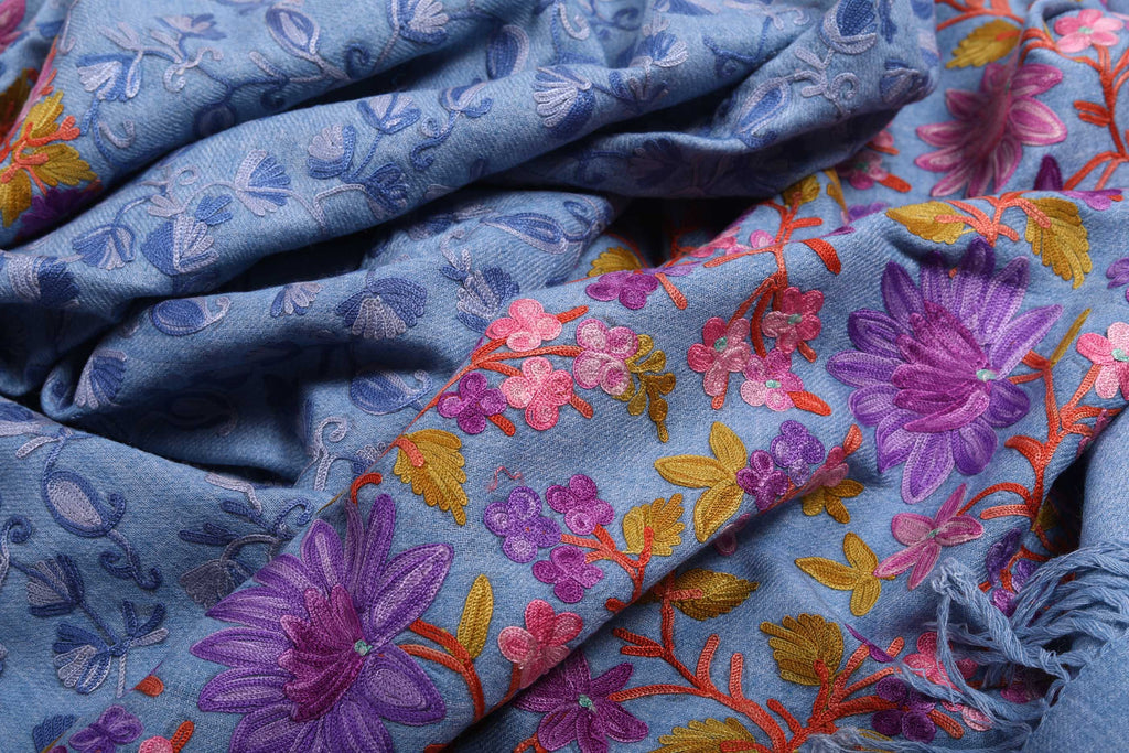 Blue Floral Hand-Embroidered Wool Shawl