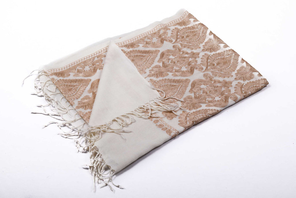Artistic Whitney - Hand-Embroidered Wool Shawl