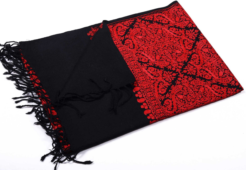 Black Red Floral Hand-Embroidered Wool Shawl