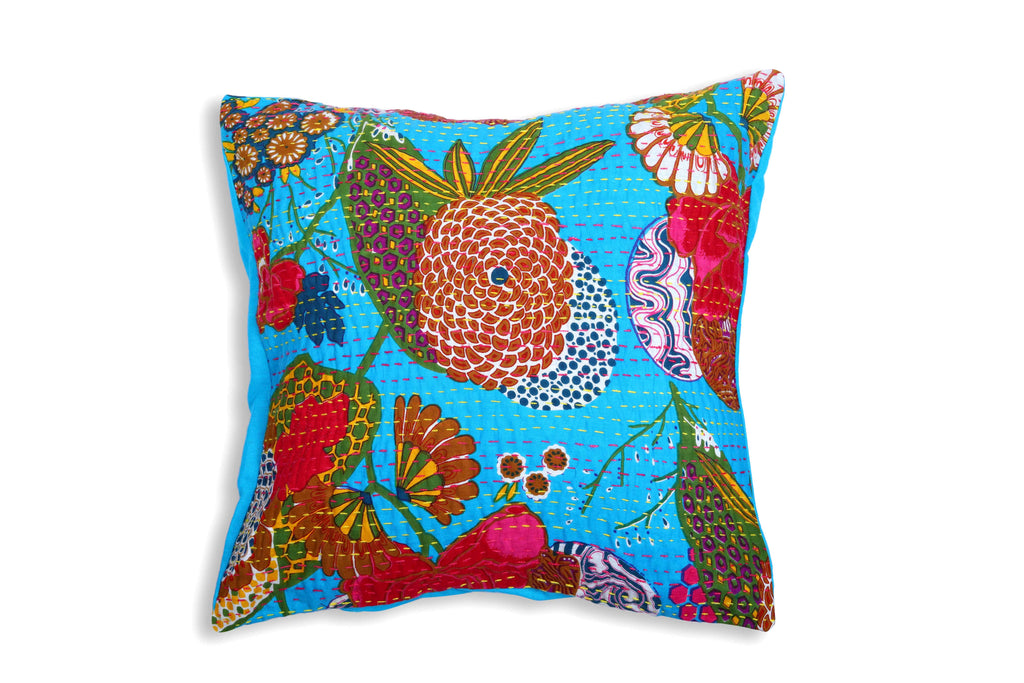 The Green Ecstasy - Kantha Cushion Cover