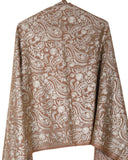 Exquisite Selena - Hand-Embroidered Wool Shawl
