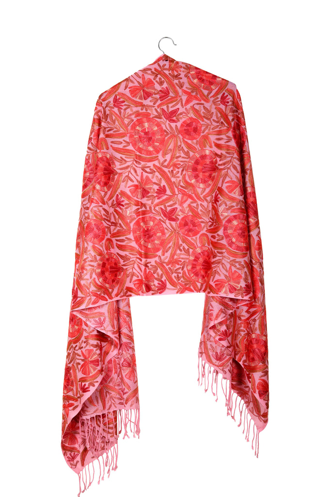 Pink Hand-Embroidered Wool Shawl