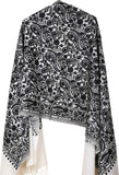 Black White Floral Hand-Embroidered Wool Shawl