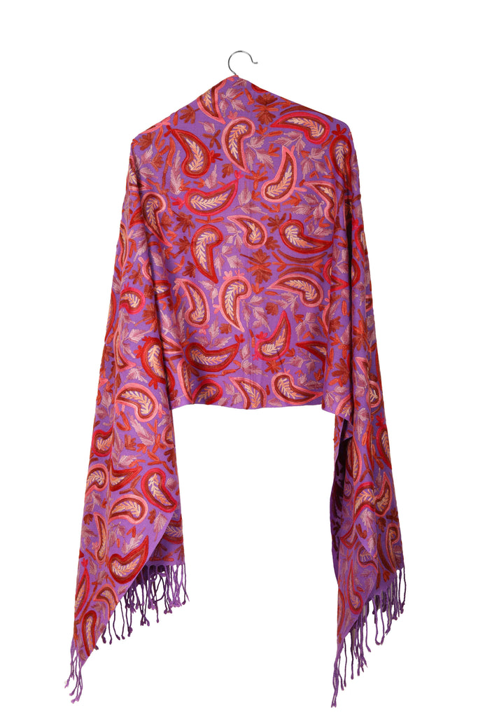 Purple Pasileys Hand-Embroidered Wool Shawl