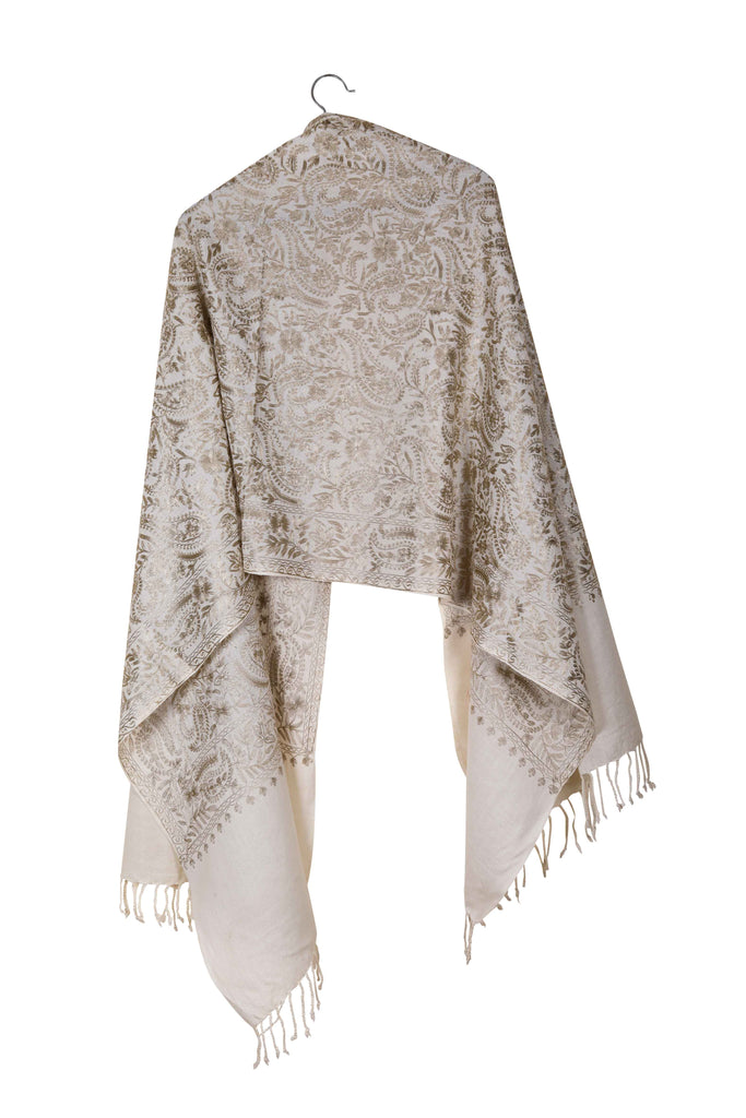Elusive Shania - Hand-Embroidered Wool Shawl