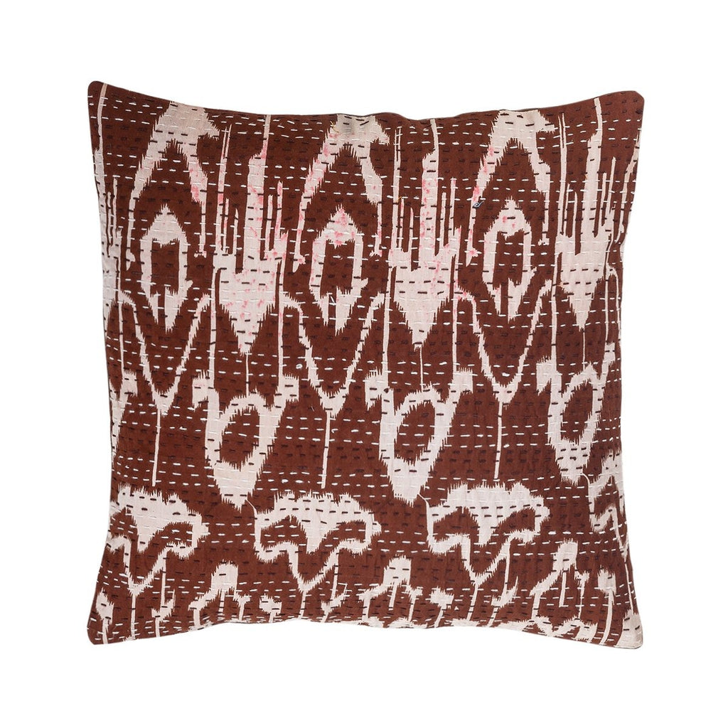 The Mahogany Mirth - Kantha Cushion Cover