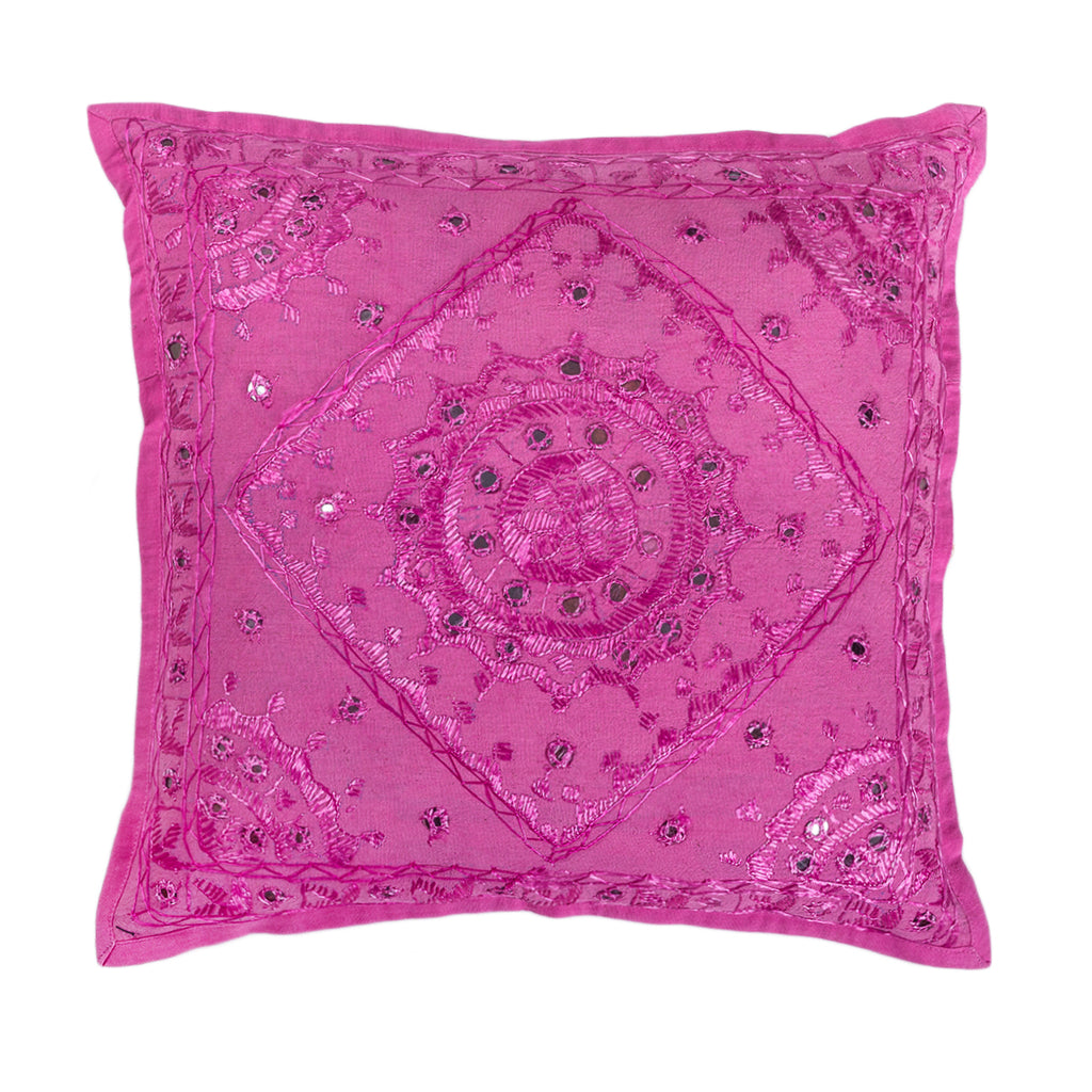 Champagne City - Mirror work cushion cover