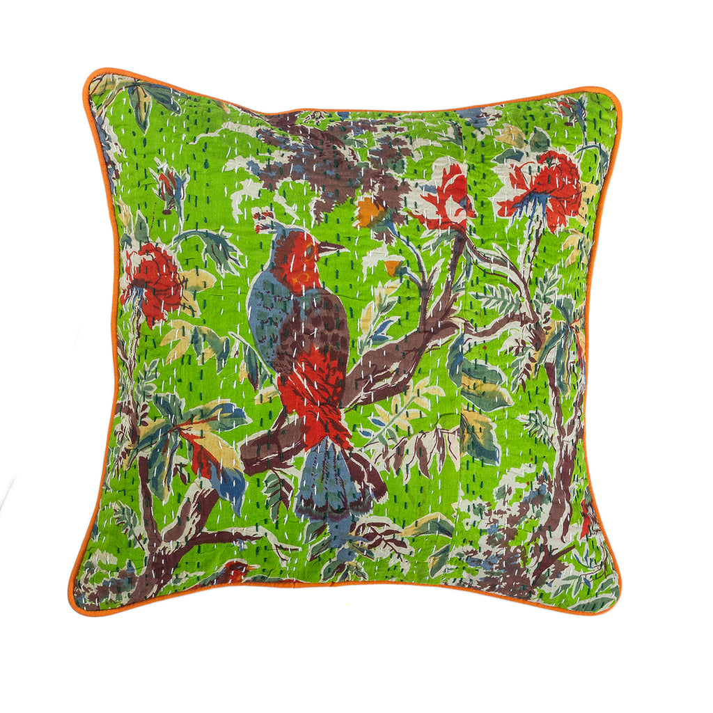 The Emerald Fascination - Kantha Cushion Cover