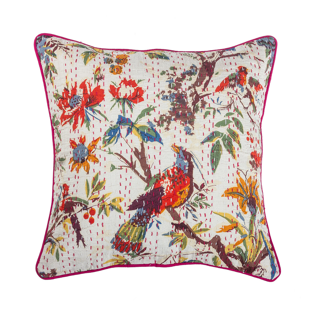 Birds And Trees Cotton Kantha Indian Cushion Cover