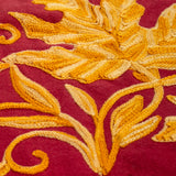 Oval Hand-Embroidered Red And Yellow Maple Leaves In Autumn Colors Cotton Tablecloth