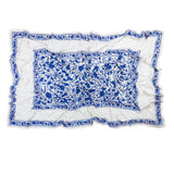 Oval Blue Floral Needlework Tablecloth