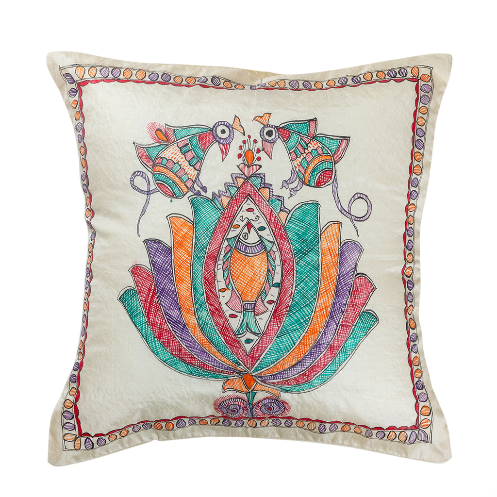 The Glitter - Hand Painted Madhubani Pillowcase