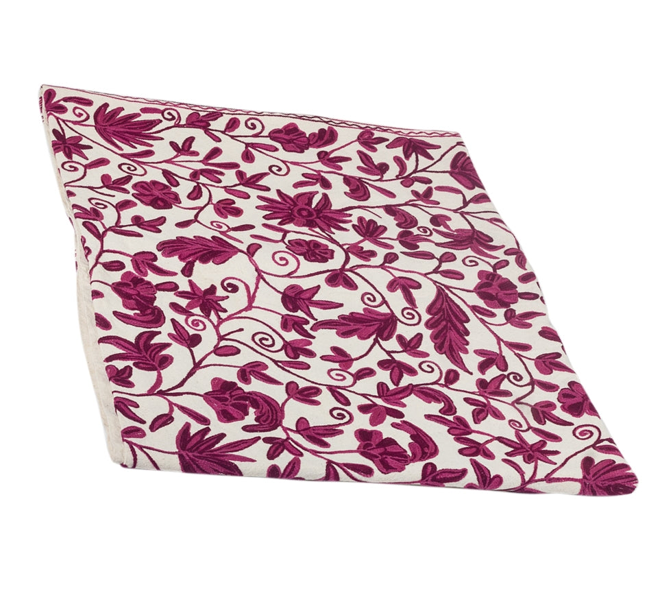 Oval Purple Crewel Embroidered Tablecloth