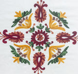Round Hand-Embroidered Cotton/ Linen Tablecloth