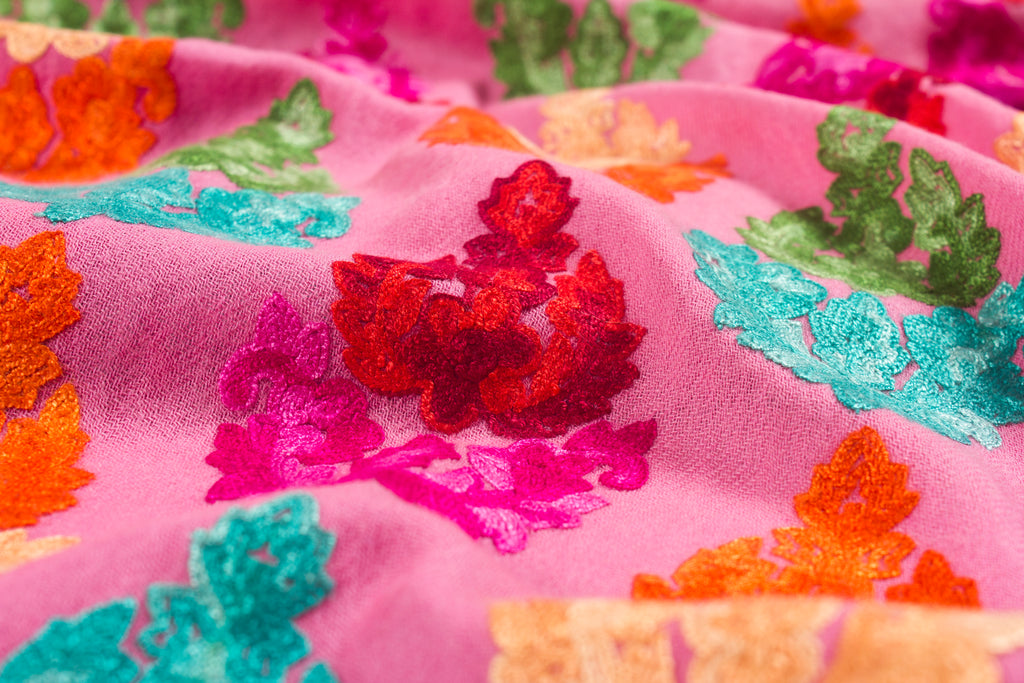 Exuberant Eva - Hand-Embroidered Wool Shawl