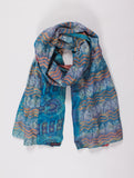 Enchanting Zoey – Kantha Silk Shawl (Blue & Red)