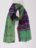 Talented Bella - Kantha Silk Shawl (Blue & Green)