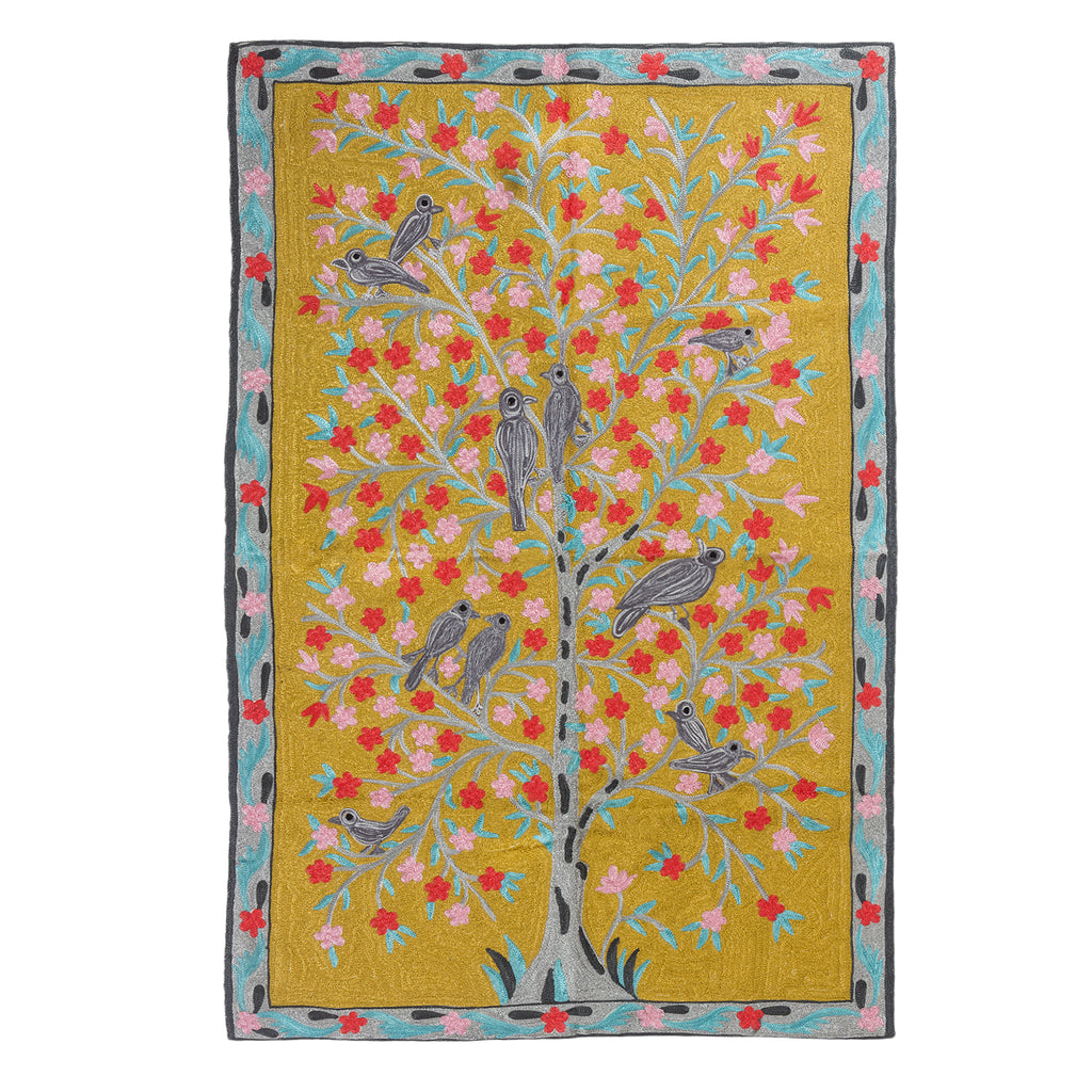 Lovebirds on the Tree of Life Rug Tapestry