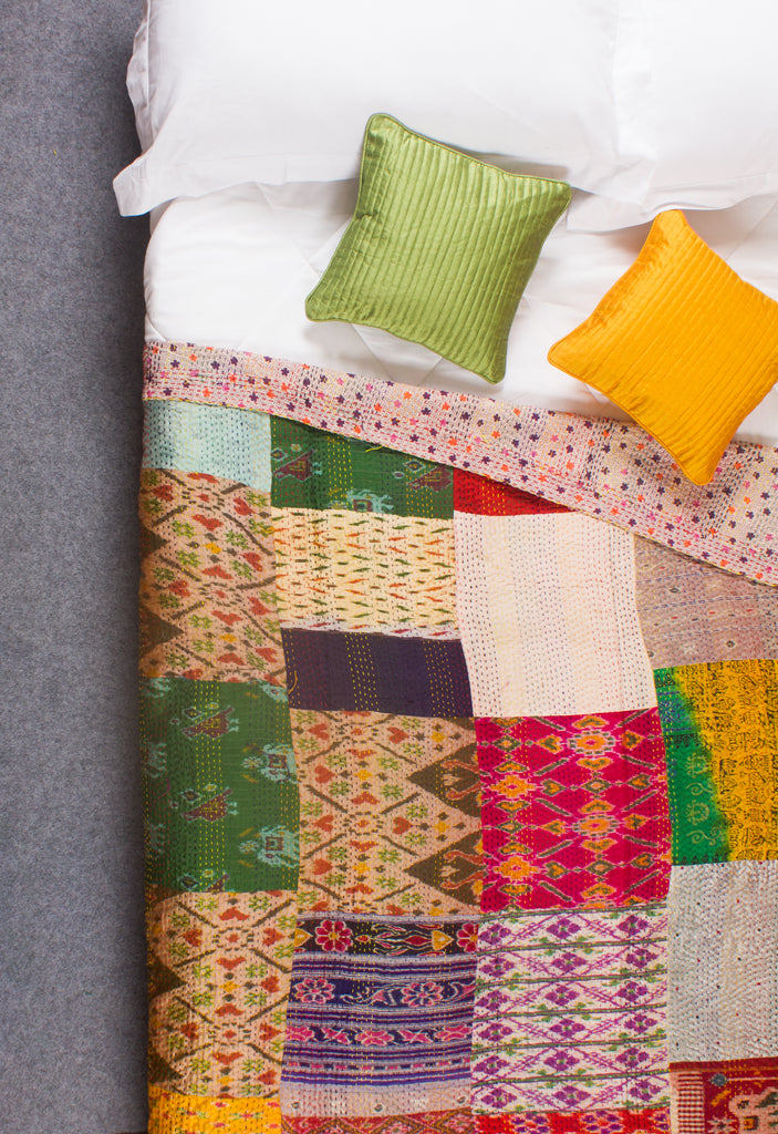 The Missouri Patchwork - Kantha Silk Quilt