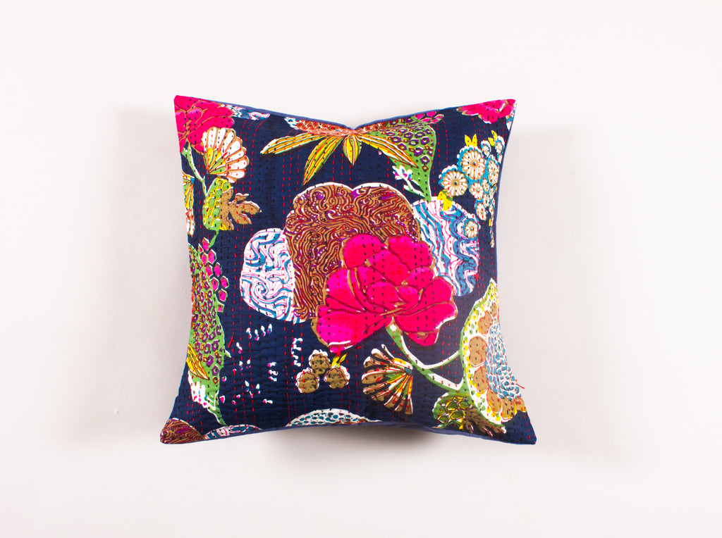 Black Floral Cotton Kantha Embroidered Throw Pillow