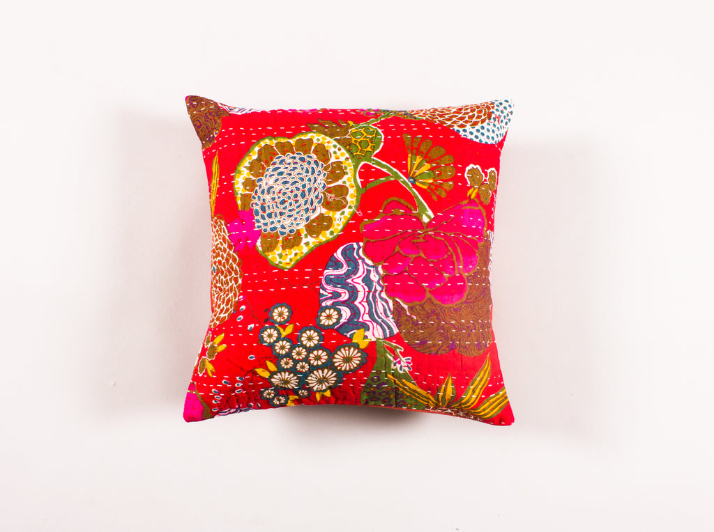 The Black Merriment - Kantha Cushion Cover