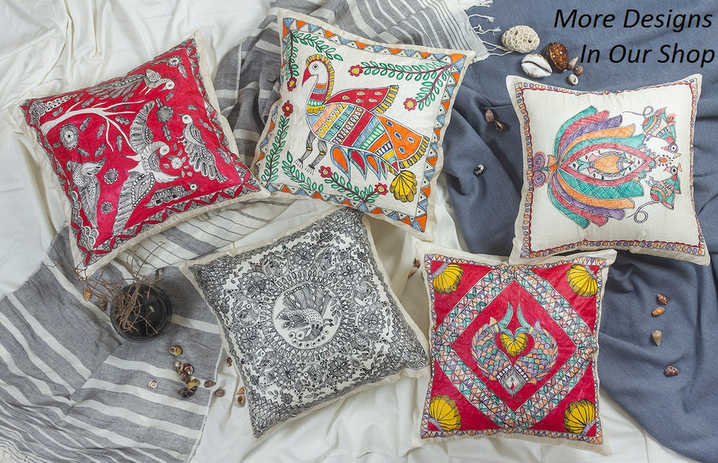 The Twinkle - Hand Painted Madhubani Pillowcase