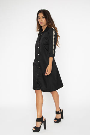 Load image into Gallery viewer, Black Swarovski Shirt Dress