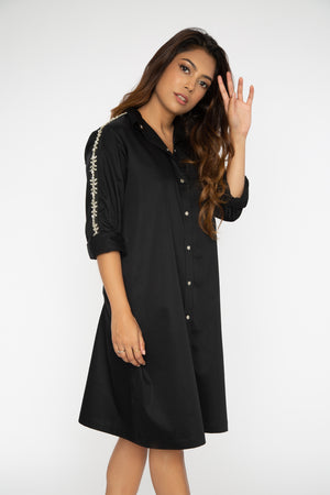 Black Swarovski Shirt Dress