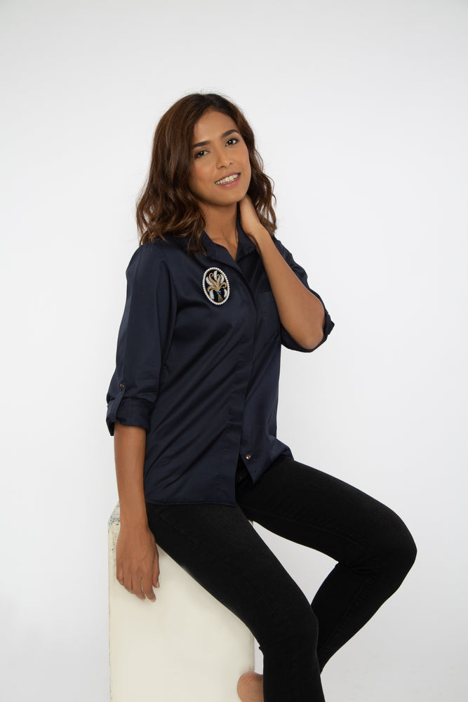 Classic Navy Shirt With PLV Brooch