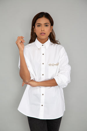 White Pocket Swarovski Shirt
