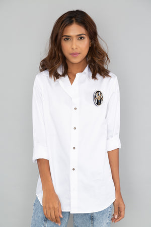 White Boxy Shirt with PLV Brooch