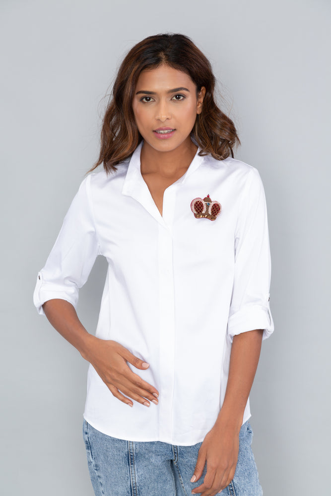 Classic White Shirt With PLV Brooch