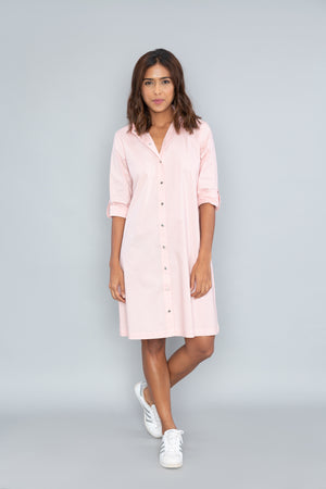 Salmon Shirt Dress with PLV Brooch