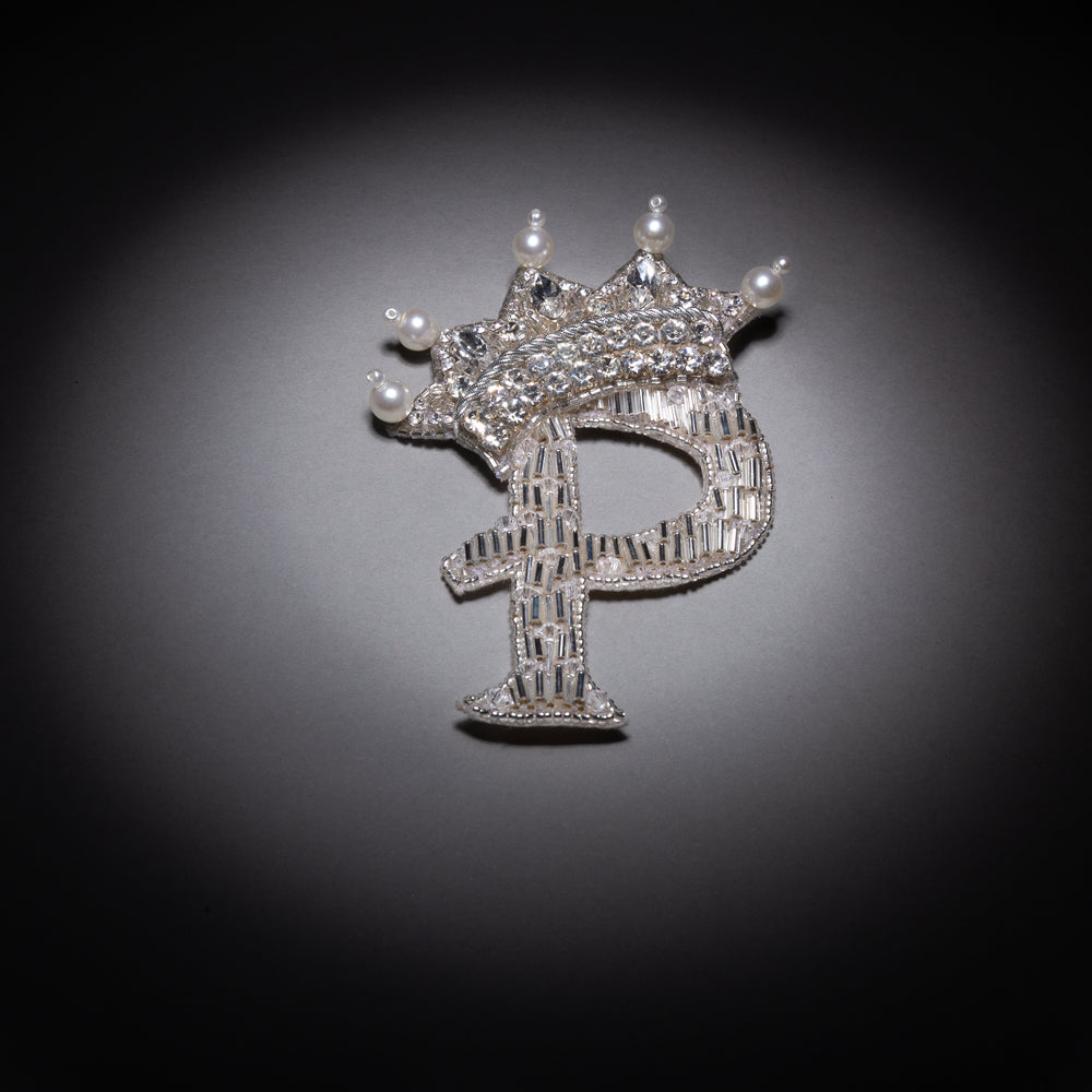 Silver Monogram With Crown Brooch